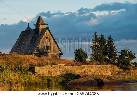 Old Russian Orthodox Wooden Church In The Village Rabocheostrovsk, Karelia.