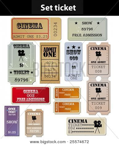 set: tickets in different styles