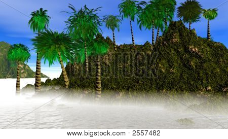THIS IS AN IMAGE OF A TROPICAL ISLAND IN THE SOUTH PACIFIC WATERS. THIS IS A CGI GENERATED IMAGE. poster
