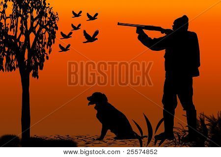 silhouette of a hunter and his canine companion at sunrise poster