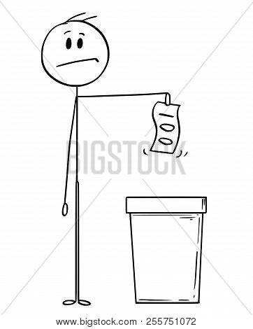 Cartoon Stick Drawing Conceptual Illustration Of Man Or Businessman Throwing Banknote Or Bill In To