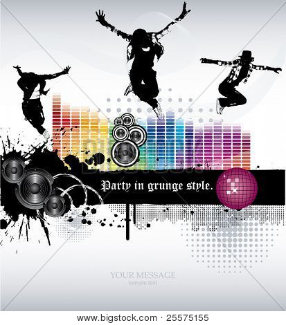 Vector. A template grunge party