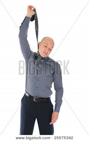 businessman hanged himself in a tie. Isolated on white background poster