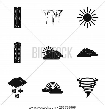 Weather Outside Icons Set. Simple Illustration Of 9 Weather Outside Icons For Web