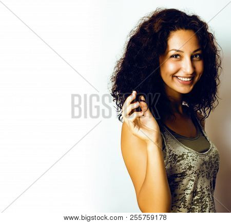 Young Pretty Taned Girl Close Up Portrait Smiling Confident Brun