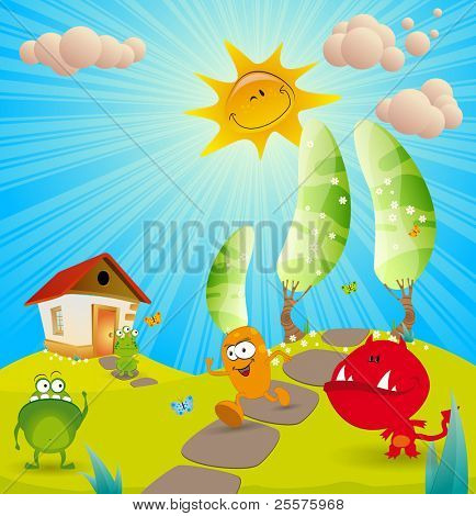 Children's background for the book. Vector