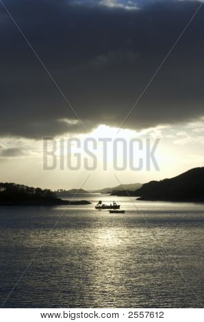 Scottish Loch At Sunset