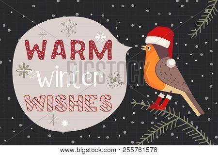 Christmas Holiday Decoration. Cute Cartoon Robin Bird In Santa Red Hat. Fancy Festive Lettering Wint