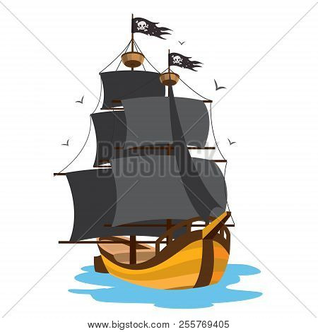 Ship With Black Sails. Pirate Frigate. Pictures On A Naval Theme.