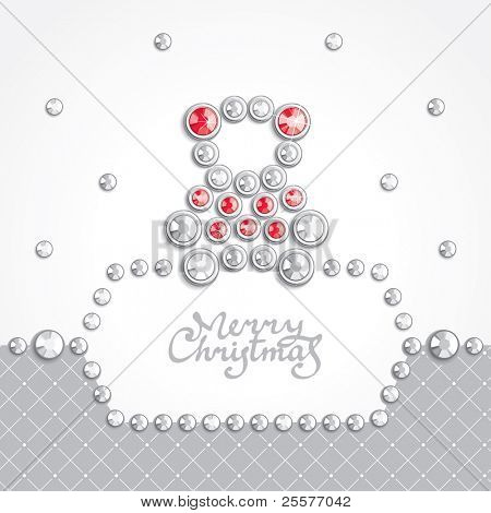 Christmas background with teddy bear silhouette composed of crystals