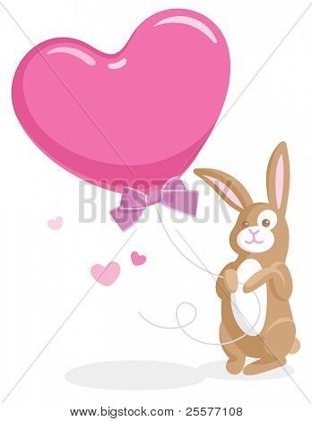 Greeting card with cute bunny holding a big heart-shaped balloon