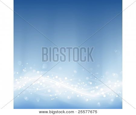 Abstract background in shades of pale blues with blurry light dots and wavy lines. Background made by blend and clipping mask.