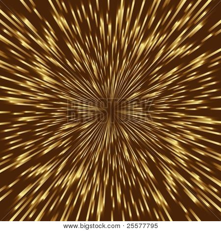 Stylized golden fireworks, light burst with the center in the middle of the square image.