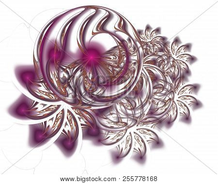 Abstract Christmas Decoration Background In Glowing Purple Color. Beautiful Winter Pattern With Snow