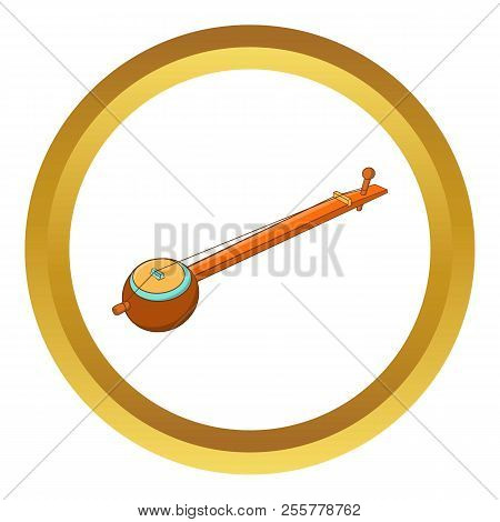 Traditional One String Indian Ektara Icon In Golden Circle, Cartoon Style Isolated On White Backgrou