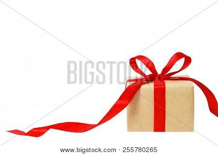 Gift Box White Background. Holiday Present. Festive Gift