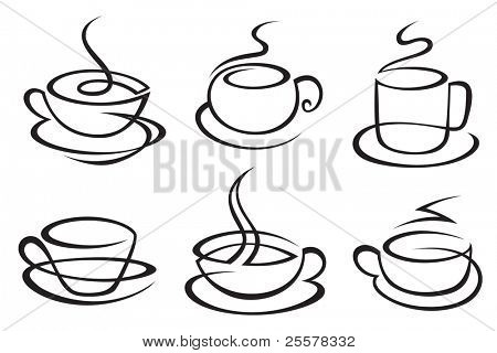 set of monochrome coffee cups