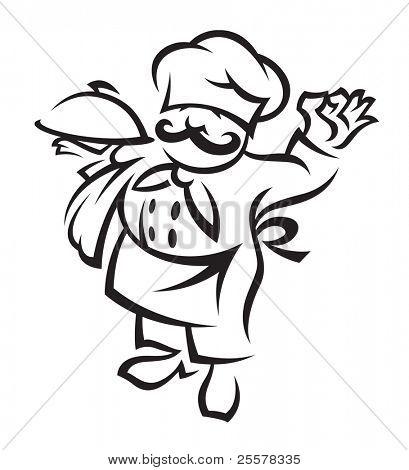 chef con bandeja de comida en la mano