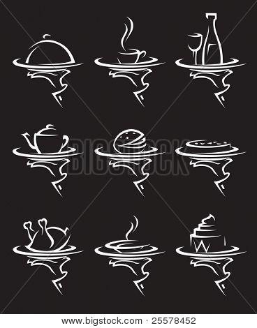set of nine restaurants icons