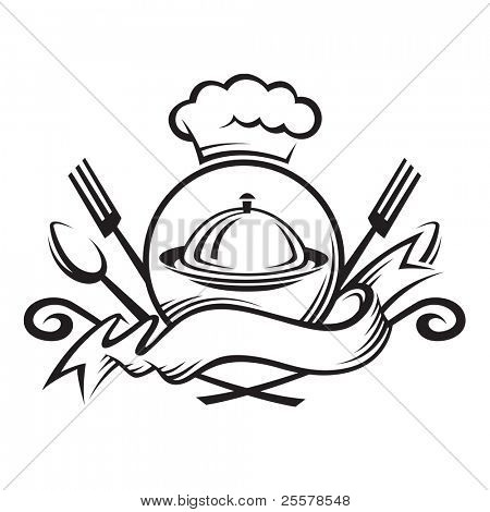 chef hat with spoon,fork and dish
