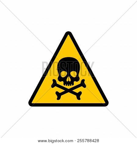 Yellow Triangle Warning Toxic Sign. Toxic Warning Triangular Vector Symbol Sticker.