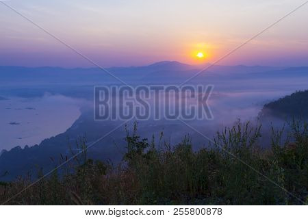 Sunrise Idyllic In Morning And Mist At Viewpoint Countryside In Thailand