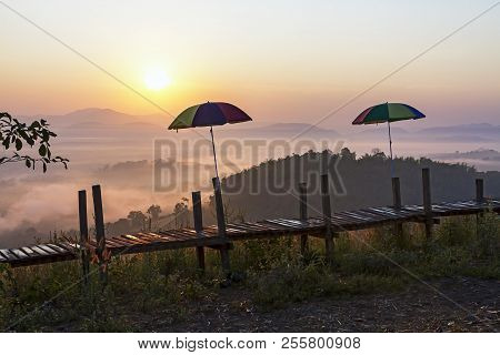Sunrise With Shadow And Mist Morning At Viewpoint In Countryside Thailand