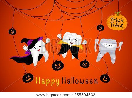 Funny Cute Cartoon Tooth Character. Witch, Mummy And Dracula In Moon Night. Happy Halloween Concept.