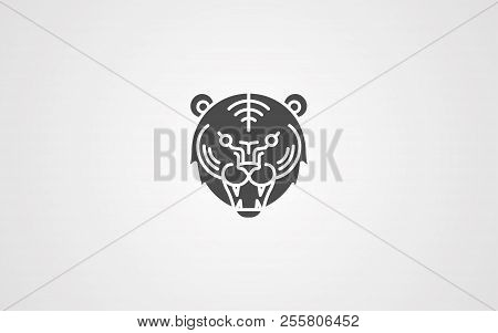 Tiger Black Icon. Silhouette Symbol Of Tiger Isolated On White Background. Wild Animal Pictogram For