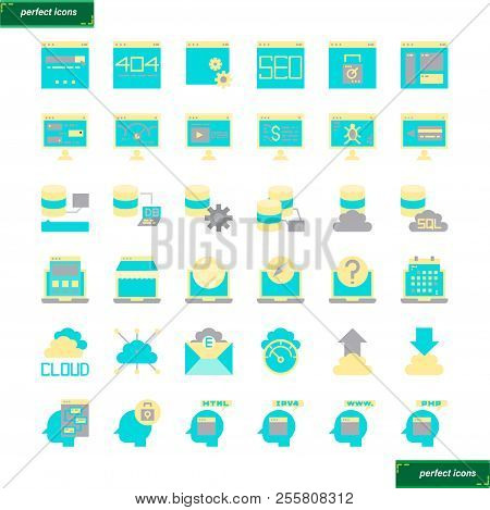 Browser And Interface  Flat Icons Set Perfect Pixel. Use For Website, Template,package, Platform. Co