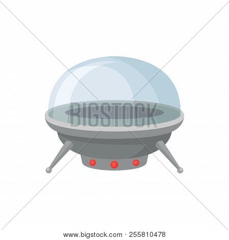 Metal Alien Spaceship With Red Lamps And Glass Cabin. Futuristic Extraterrestrial Space Craft. Flyin