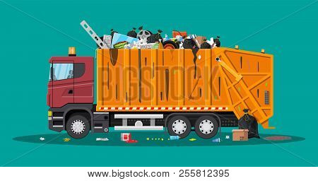Truck Assembling Transportation Garbage. Overflowing Garbage Food Rotten Fruit Papers Containers Gla