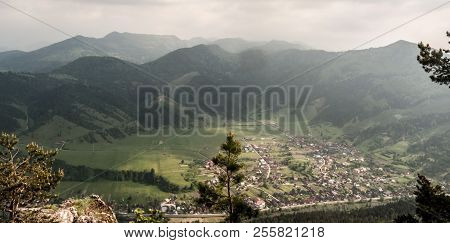 View To Hubova Village With Rurl Landscape Around Surronded By Hills Of Velka Fatra Mountains From H