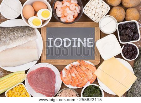 Food rich in iodine. Various natural sources of vitamins and micronutrients