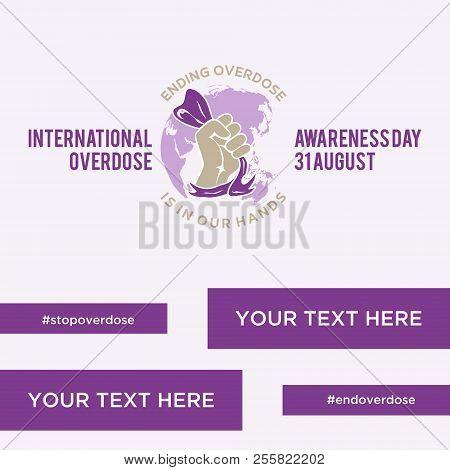 Design Element Greeting Card For International Overdose Awareness Day. Abstract Emblem Design Backgr