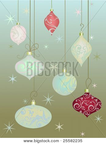 Set of 7 Vintage Christmas Balls with Soft Velvet Swirls
