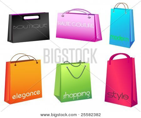 Vibrant-colored shopping bags