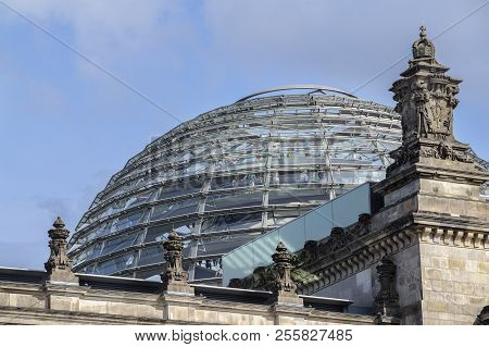 Dome Of The Reichstag Building (german Goverment) In Berlin The Capital City Of Germany, Europe, Blu