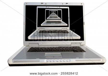 laptop infinity. Laptop with laptops repeated on the monitor for ever. Laptop in a laptop. Room for text. Clipping Path.