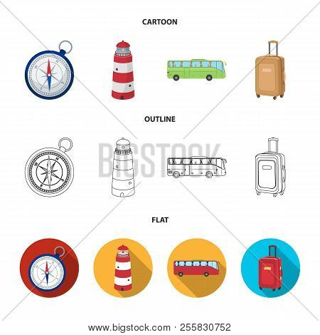 Vacation, Travel, Lighthouse, Compass .rest And Travel Set Collection Icons In Cartoon, Outline, Fla
