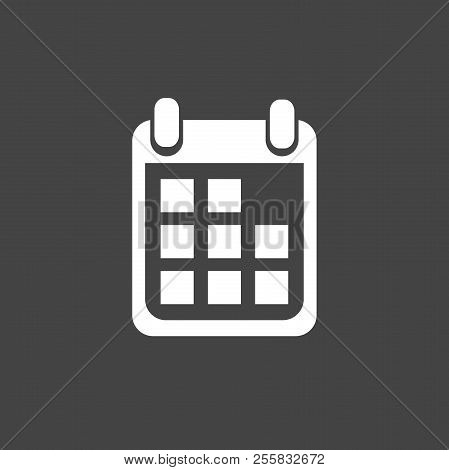 Calendar Icon On Black Background, Vector Illustration. Flat Sty . Business Abstract Pictogram.