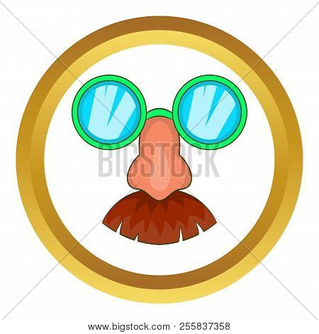 Disguise Mask Icon In Golden Circle, Cartoon Style Isolated On White Background