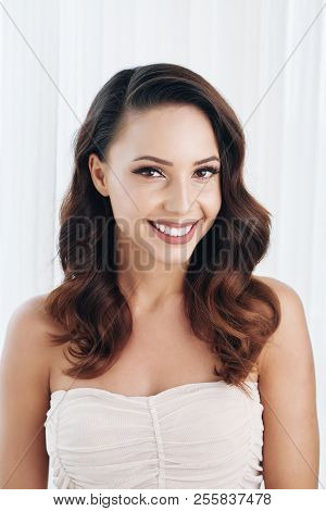 Beautiful Smilng Bride With Toothy Smile Looking At Camera