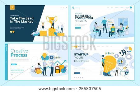 Set Of Web Page Design Templates For Creative Process, Business Success And Teamwork, Marketing Cons