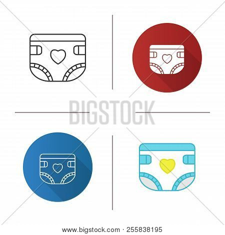 Baby Diaper Icon. Nappy. Flat Design, Linear And Color Styles. Isolated Vector Illustrations