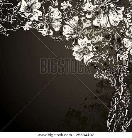 black background with decorative flowers