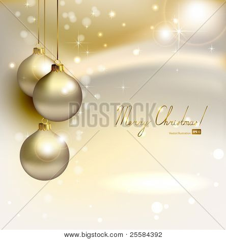 elegant  glimmered Christmas background with three evening balls