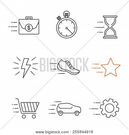 Motion Linear Icons Set. Flying Briefcase, Stopwatch, Hourglass, Sneaker, Star, Cogwheel, Car, Fast
