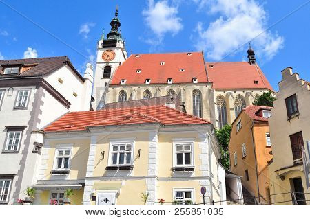 Austria. Architecture Of The Very Beautiful Town Of Krems In A Sunny Summer Day