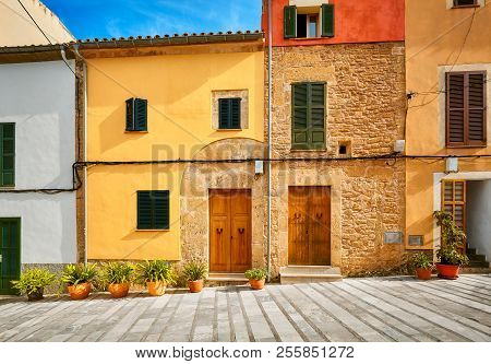 Picturesque Street In Alcudia Old Town, Mallorca, Spain.